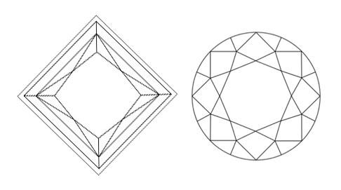princess vs round diagonal